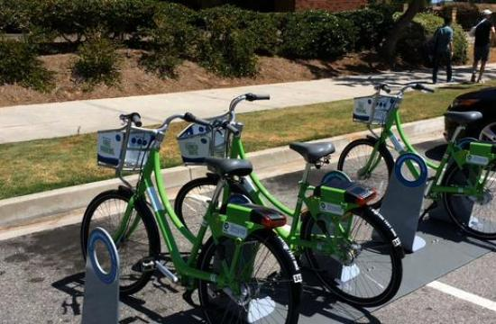 Local resident Kevin Rooney talks about the new bicycle sharing program in Santa Monica called Breeze.