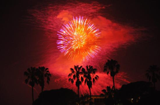 Us Weekly reports fireworks were set off at midnight for NBA player James Harden's 26th birthday.
