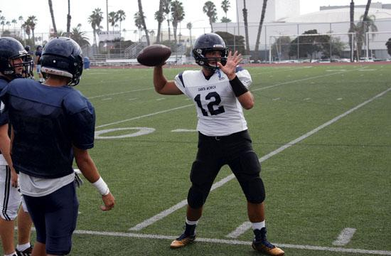Santa Monica High Sophomore quarterback Dariush Sayson went through throwing reps during practice this past week. The Vikings will play their first regular season game (non-conference) on Friday