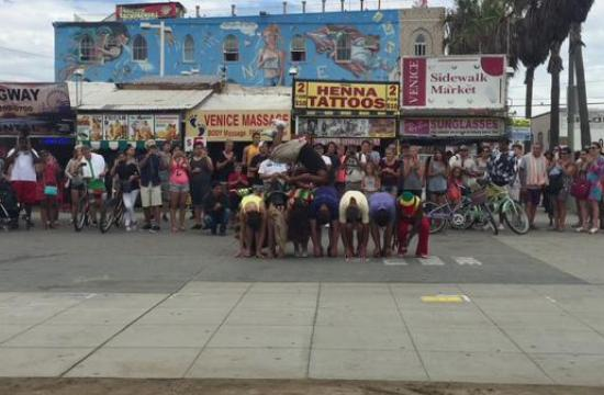 Venice Beach has a reputation for being anything but regular and it takes a lot to stand out from the crowd on the boardwalk. The Calypso Tumblers are one of the most popular street performers – Raymond Bartlette and Patrick the Fantastic give a glimpse into their performance philosophy and techniques.