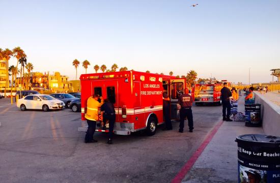 The man was found about 6:20 p.m. Thursday off the 1900 block of Ocean Front Walk and taken from the water in cardiac arrest.