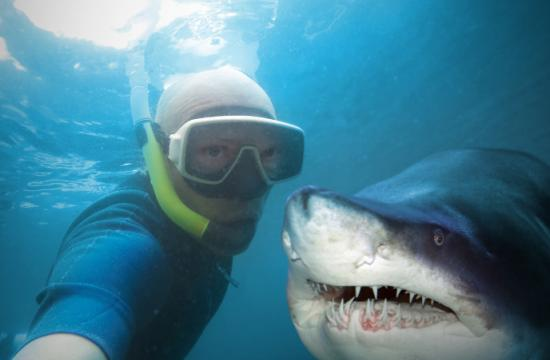 A man poses with a shark.