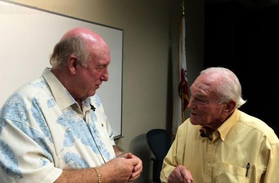 Phil Brock talks to Santa Monica resident Jerry Rosenblum.