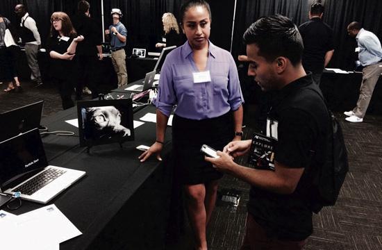 Video production student Rocio Amaya attend the Portfolio Show at Art Institute of California – Los Angeles.
