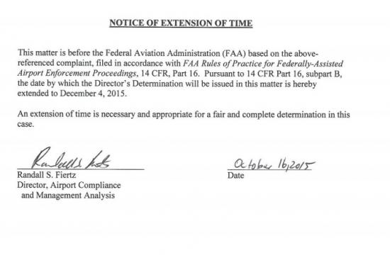 The City of Santa Monica received this notice from the FAA on Friday