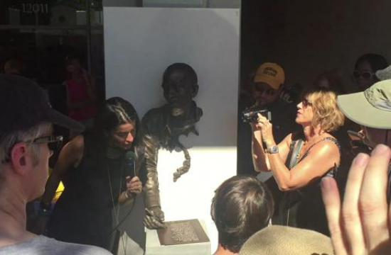 Brentwood community leaders and friends of Brown's gathered on the patio of the Douglas Emmett building at 11021 San Vicente Boulevard Sunday to unveil the posthumous sculpture in memoriam Brown