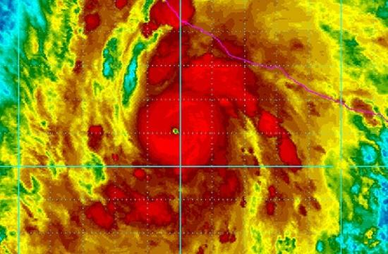 A satellite image of Hurricane Patrica on Friday off the Mexico coastline.