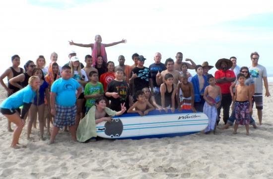 Students from Tobinworld at Santa Monica Beach on Tuesday morning.