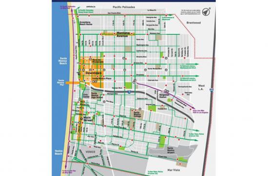 The system map for Santa Monica's new Breeze Bike Share that will have its full system launch on Thursday