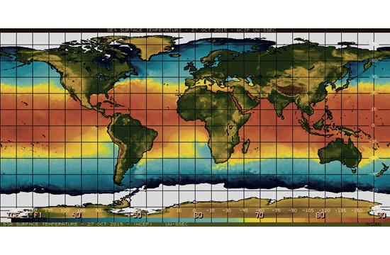 El Niño is characterized by unusually warm temperatures in the equatorial Pacific. Pictured is the sea surface on Oct. 27