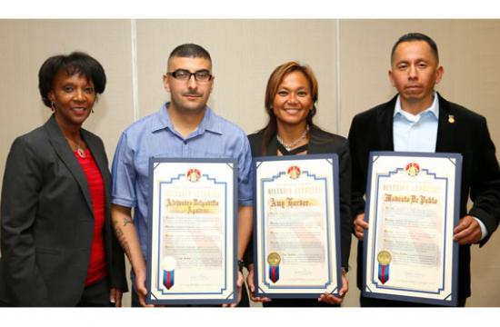 Los Angeles District Attorney Jackie Lacey recognized three brave people at the most recent Courageous Citizen Awards ceremony of the year. Modesto De Pablo (far right) was honored for trying to thwart a deadly stabbing attack in Santa Monica.