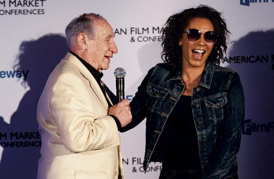 The two Mel B's – Mel Brooks and Mel B (aka Scary Spicy) – on opening day of the 2015 American Film Market in Santa Monica on Wednesday.