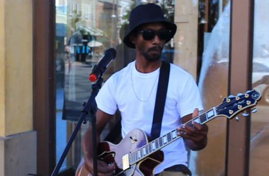 Aspiring musician James McCain chats about moving to the West Coast and performing on Santa Monica's Third Street Promenade.
