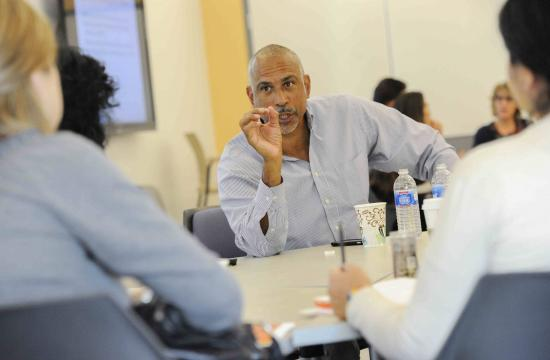 Dr. Pedro Noguera – Distinguished Professor of Education at UCLA and one of the nation's foremost experts on urban education – interacts with Santa Monica College professors at a workshop organized by the college's Center for Teaching Excellence. The Center is funded by a federal grant for colleges like SMC that serve a large number of Hispanic/Latino students and works with faculty who teach basic skills