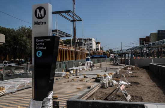 Phase 2 of the Expo Line will extend light rail service from the current terminus in Culver City to Santa Monica. Pictured is the Grand Pylon at Downtown Santa Monica Station.