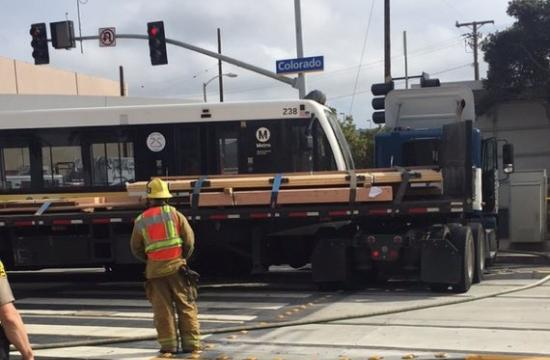An 18-wheel truck collided with a Metro Test Train after making an illegal left turn at 7th and Colorado in Santa Monica on Thursday