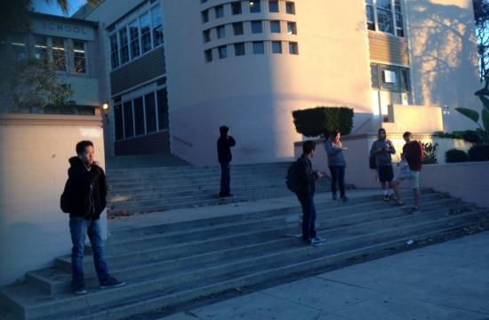 Students stranded waiting for bus to pick them up in Venice.