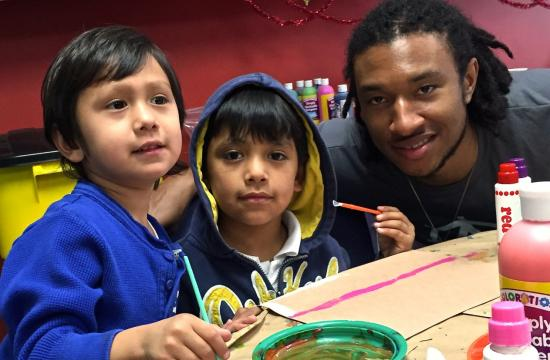 Justin Harper and two children from Connections For Children.