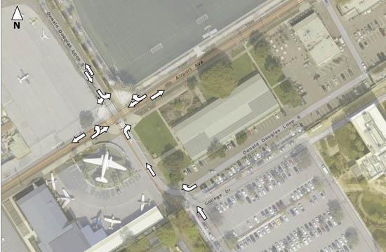 Traffic flow at SMC's airport campus.
