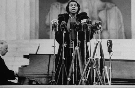Marian Anderson singing in 1939 on the steps of the Lincoln Memorial attended by some 75,000 people.  A 10 year-old Martin Luther King, Jr. heard it and was inspired.