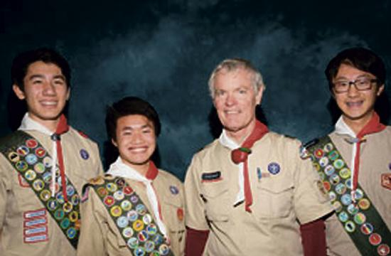 January 2016 Troop 2 Eagle Scout candidates (L to R) Kai Richard McNamee, Jonathan Huy Trinh, Scoutmaster Dr. Steve Marcy, and Ryan Han.