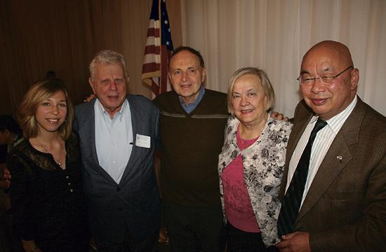 From left, Caroline Schnakers, program chair; Norm Lane and Charles Berman, guests of the speaker; speaker Dr. Jean Dodds; and Rotary President Tom Loo.