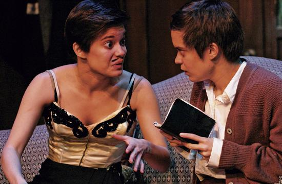 L-R: Magda tells her sister Matilde that some of her cabaret material must be cut.