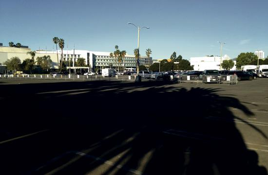 A huge empty lot sits at the Santa Monica Civic Center.