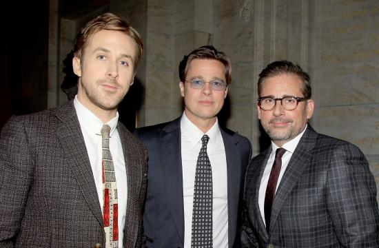 Ryan Gosling, Brad Pitt and Steve Carell at the NYC opening.
