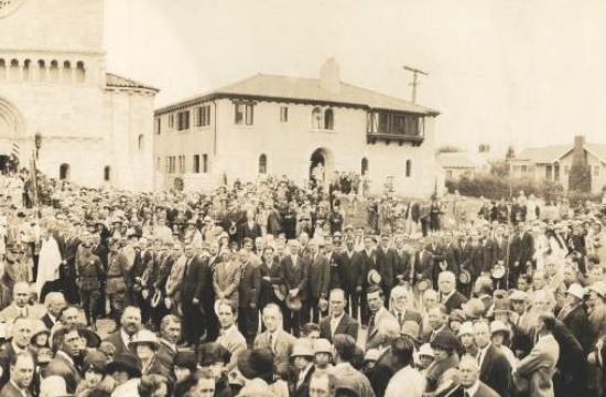 Hundreds gathered for the dedication of the church in 1926.