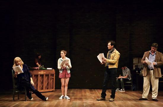 """L-R: Glenne Headley, Melody Butiu, Emily James, Barry Del Sherman, Matthew Scott and Stephen Caffrey rehearse a play-within-a-play in Sarah Ruhl's """"Stage Kiss"""" on stage at the Geffen Playhouse."""