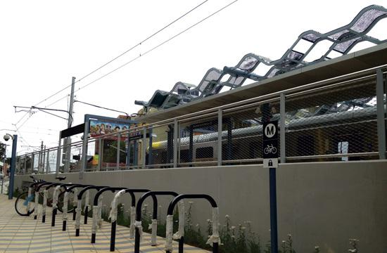 The 10 bike racks provided by Metro at the Downtown Santa Monica station.
