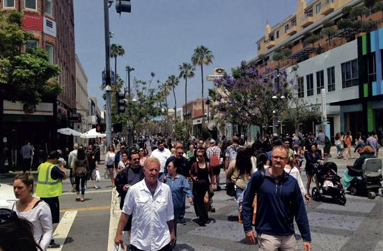 Like most weekends, the beach and the Third Street Promenade drew the largest crowds.
