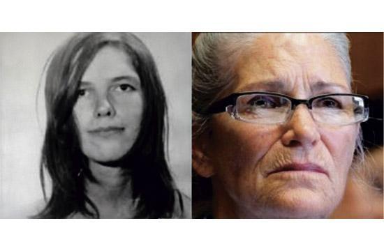 """Charles Manson """"Family"""" member Leslie Van Houten, then and now."""