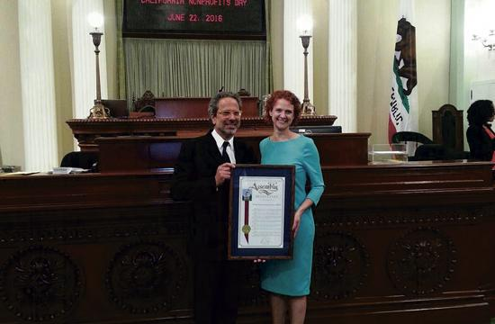 Assemblymember Richard Bloom and Kait Peters, Development Director for OPCC at the awards ceremony.