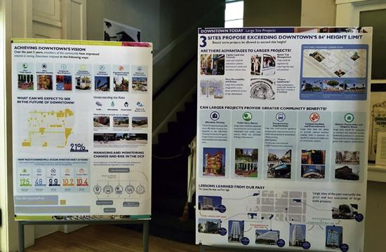 The Downtown Community Plan broken down into slides displayed at the Woman's Club's entrance.