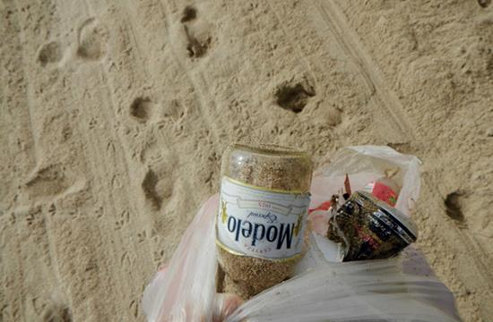 Litter collected daily by early-morning beach goers.