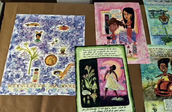 "One of Harris's upcoming workshops, ""Developing Story Through Painting Retablos"" teaches her style of narrative painting."