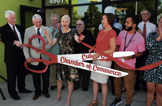 Jack and Cindy Jones help cut the ribbon for the new Boys and Girls Club Branch in Mar Vista Gardens.