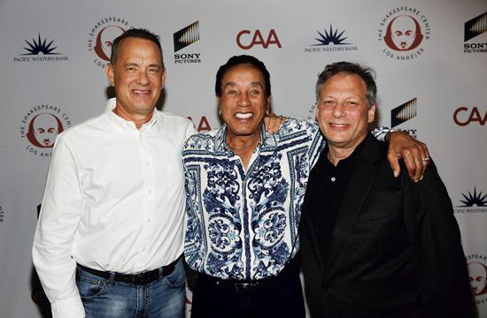 Tom Hanks, Smokey Robinson and Ben Donenberg at the Shakespeare Center of Los Angeles 26th Annual Simply Shakespeare benefit on September 19, at the Freud Playhouse on the UCLA Campus.