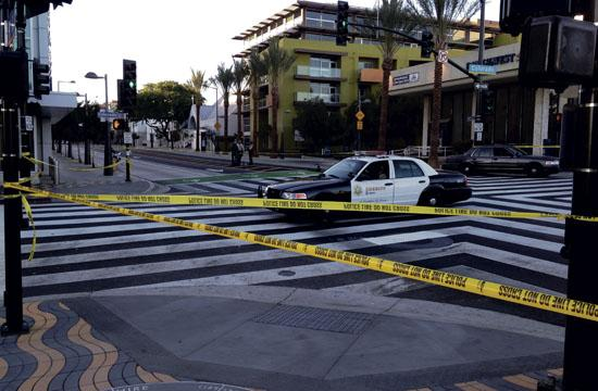 The intersection at Fourth Street and Colorado was cordoned off for seven hours Tuesday.