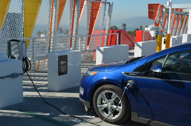 electric car/vehicle at the charging station