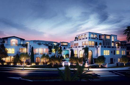 A rendering of the villa homes and penthouses to be built on Ocean Avenue. A Malibu developer acquired the project from Trammell Crow for $21 million.